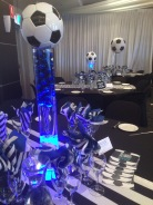 Soccer theme table centerpiece