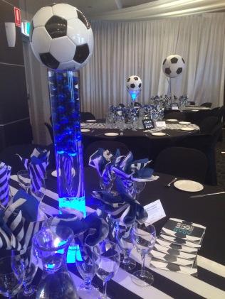 Soccer theme table centerpiece